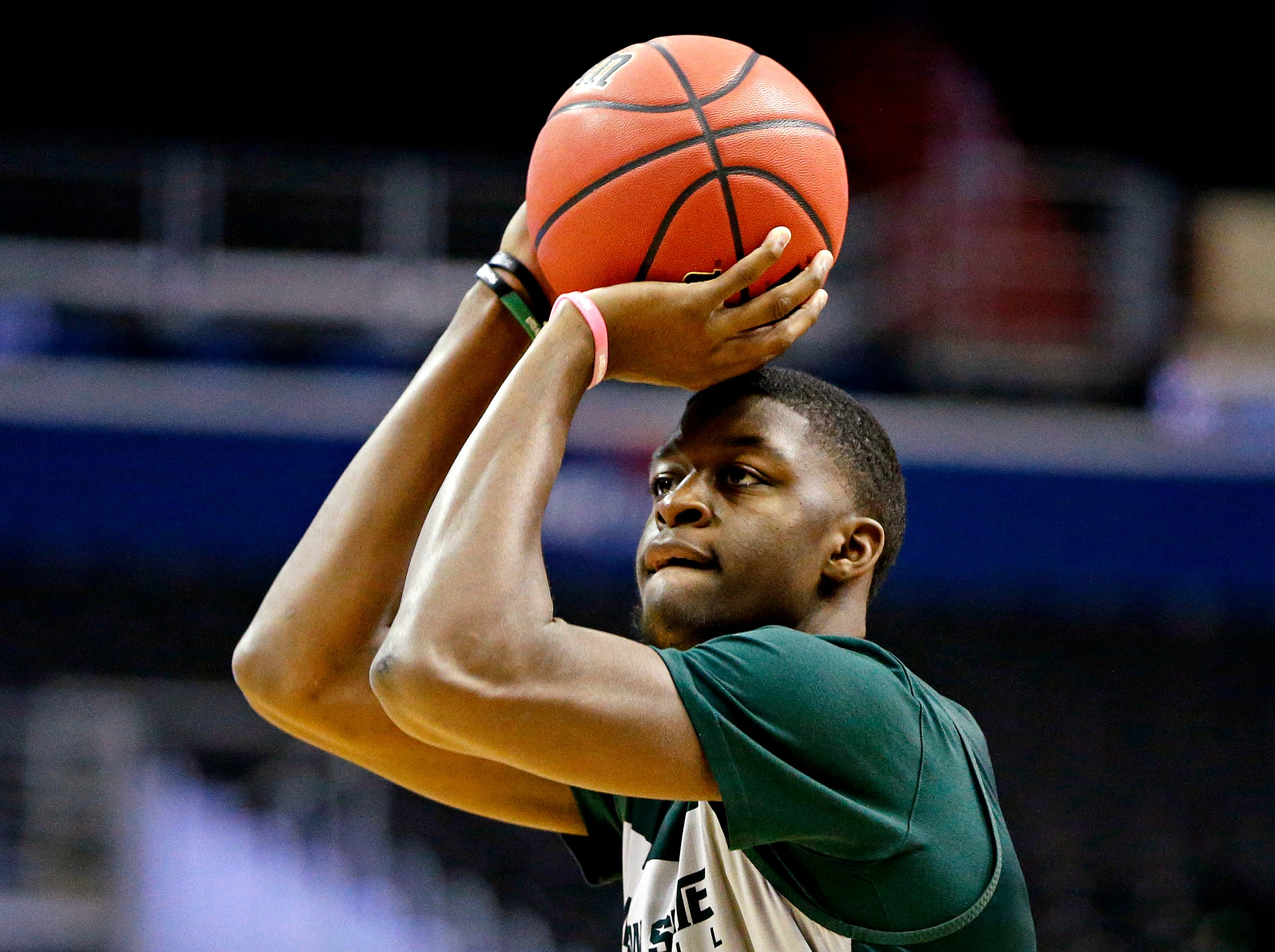 Mar 28, 2019; Washington, DC, USA; Michigan State Spartans forward Gabe Brown (13) shoots the ball during practice for the east regional of the 2019 NCAA Tournament at Capital One Arena. Mandatory Credit: Amber Searls-USA TODAY Sports