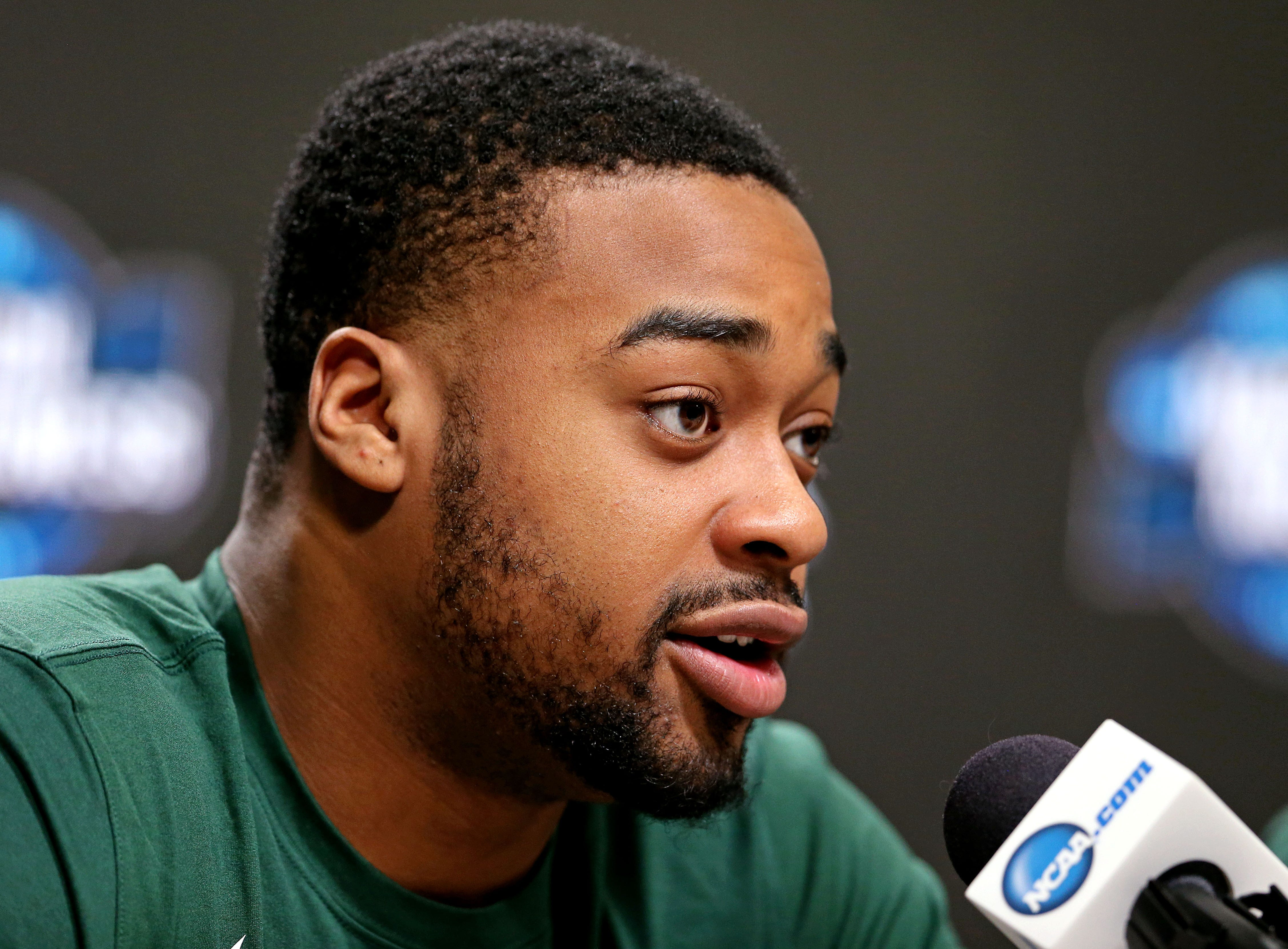 Mar 28, 2019; Washington, DC, USA; Michigan State Spartans forward Nick Ward (44) speaks in a press conference during practice for the east regional of the 2019 NCAA Tournament at Capital One Arena. Mandatory Credit: Peter Casey-USA TODAY Sports