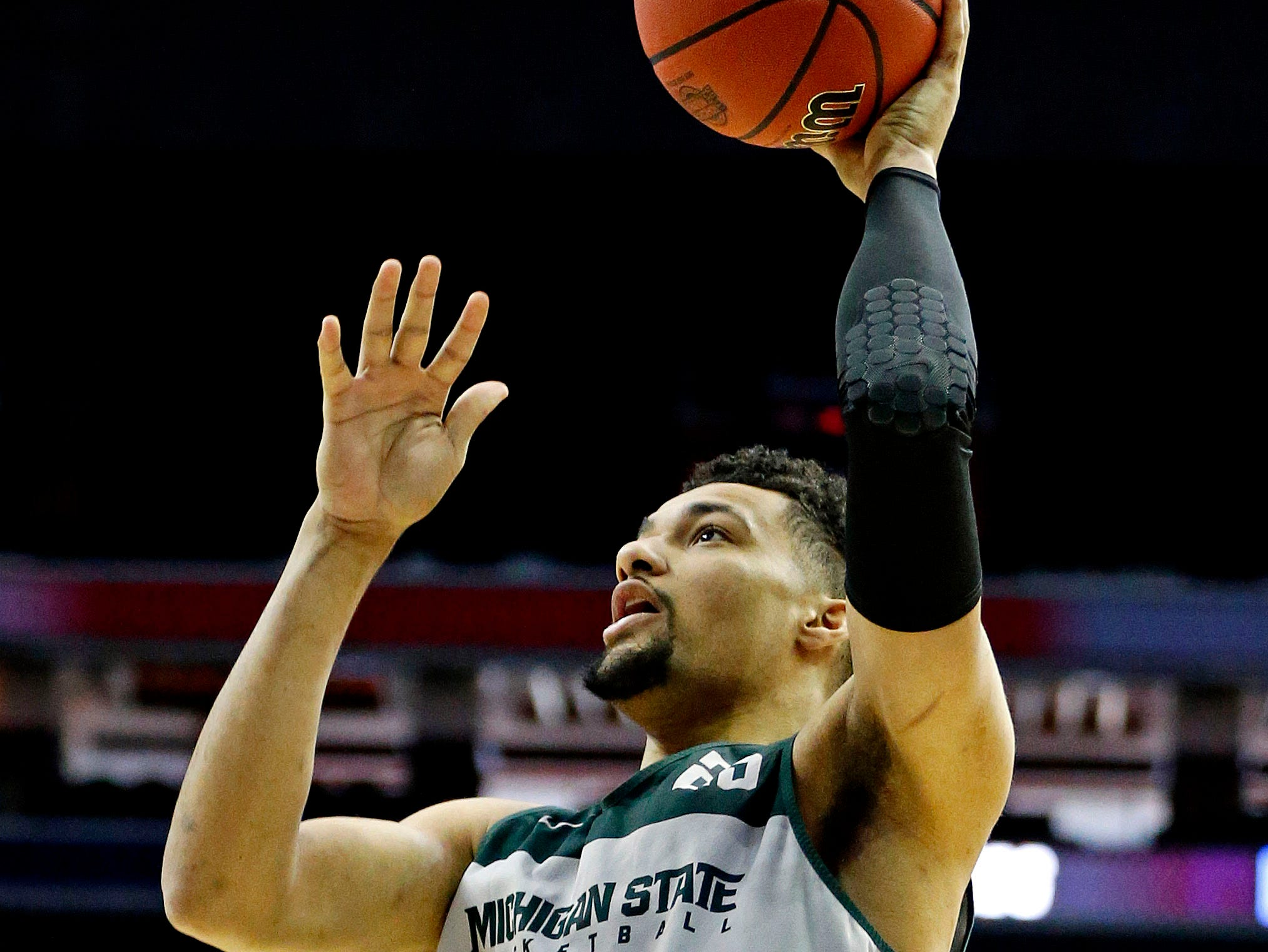 Mar 28, 2019; Washington, DC, USA; Michigan State Spartans forward Kenny Goins (25) shoots the ball during practice for the east regional of the 2019 NCAA Tournament at Capital One Arena. Mandatory Credit: Amber Searls-USA TODAY Sports