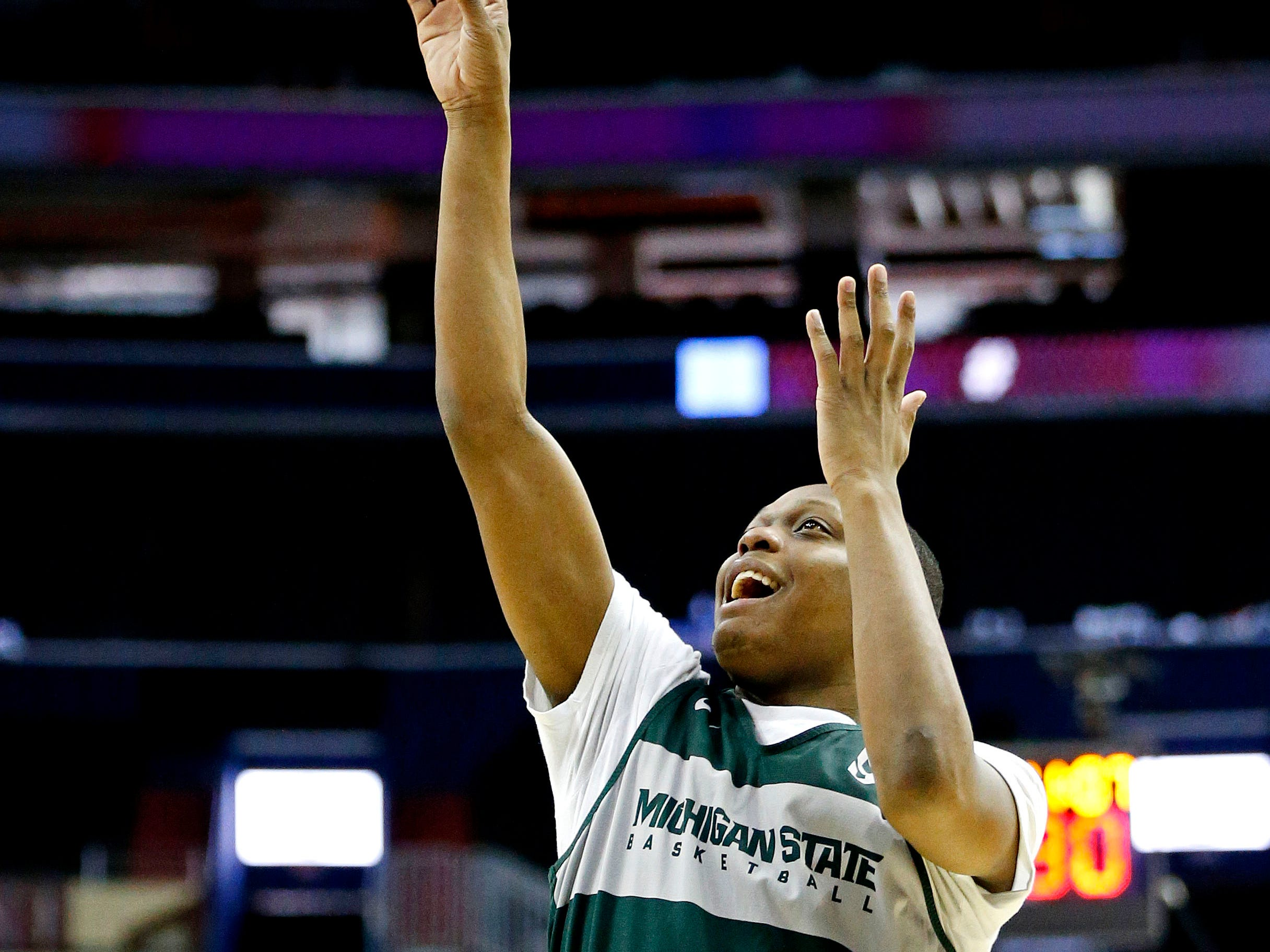 Mar 28, 2019; Washington, DC, USA; Michigan State Spartans guard Cassius Winston (5) shoots the ball during practice for the east regional of the 2019 NCAA Tournament at Capital One Arena. Mandatory Credit: Amber Searls-USA TODAY Sports