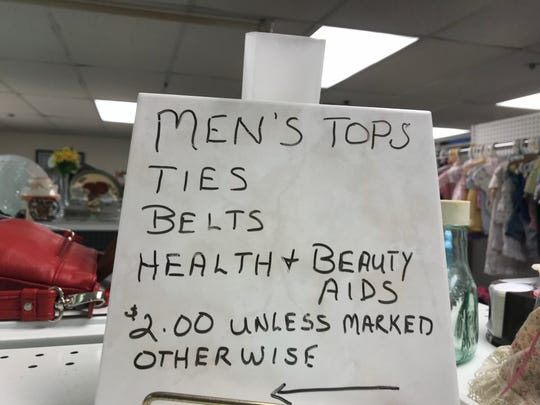 A sign at the Thrifty Sparrow Resale Shop Wednesday, March 27, 2019. The shop is closing Friday when remaining items will be offered free.