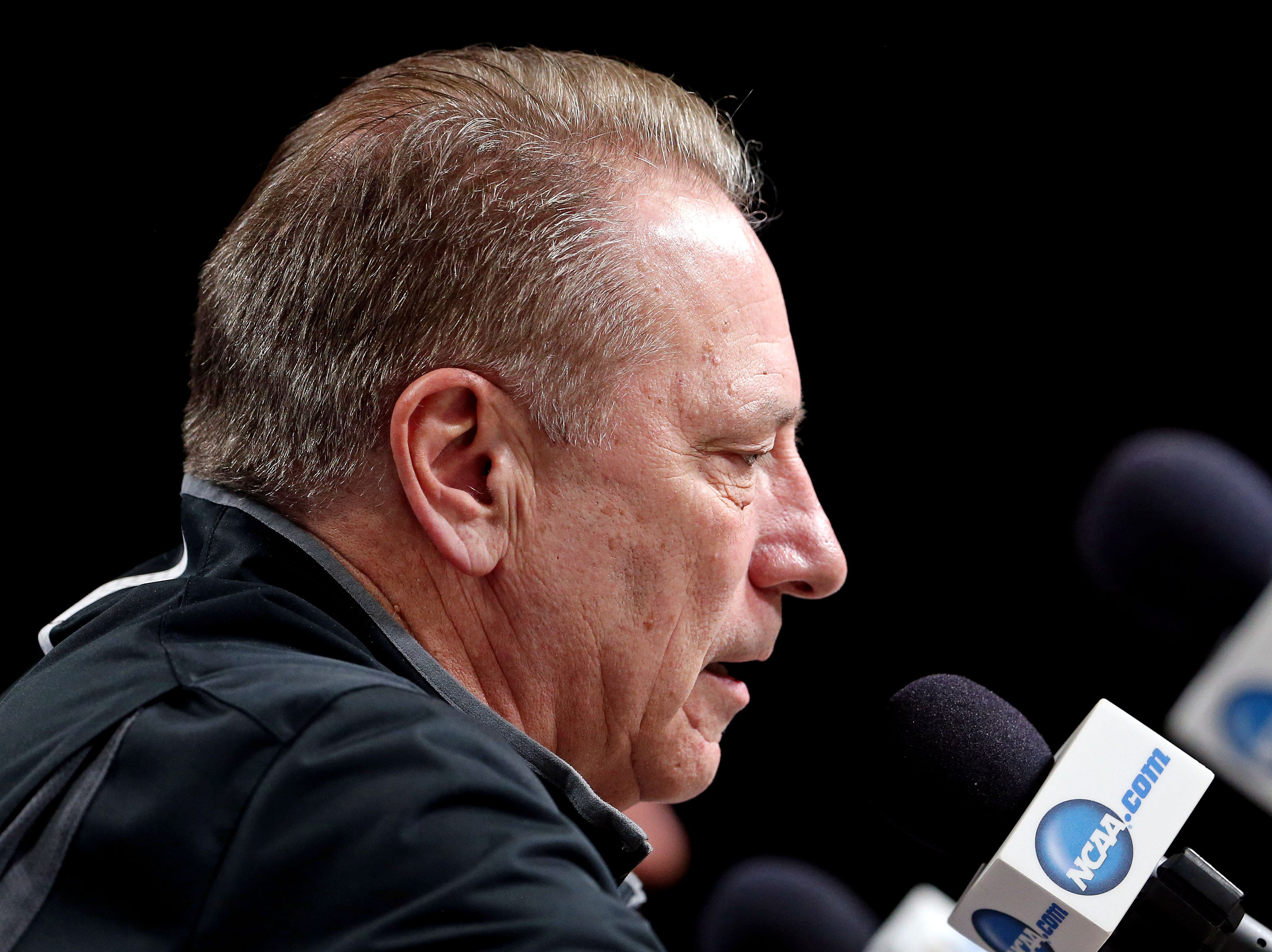 Mar 28, 2019; Washington, DC, USA; Michigan State Spartans head coach Tom Izzo speaks in a press conference during practice for the east regional of the 2019 NCAA Tournament at Capital One Arena. Mandatory Credit: Peter Casey-USA TODAY Sports
