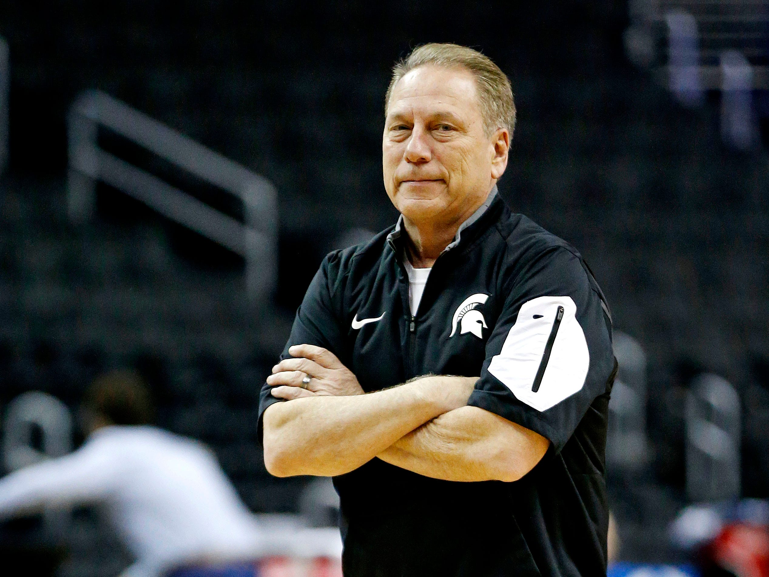 Mar 28, 2019; Washington, DC, USA; Michigan State Spartans head coach Tom Izzo during practice for the east regional of the 2019 NCAA Tournament at Capital One Arena. Mandatory Credit: Amber Searls-USA TODAY Sports