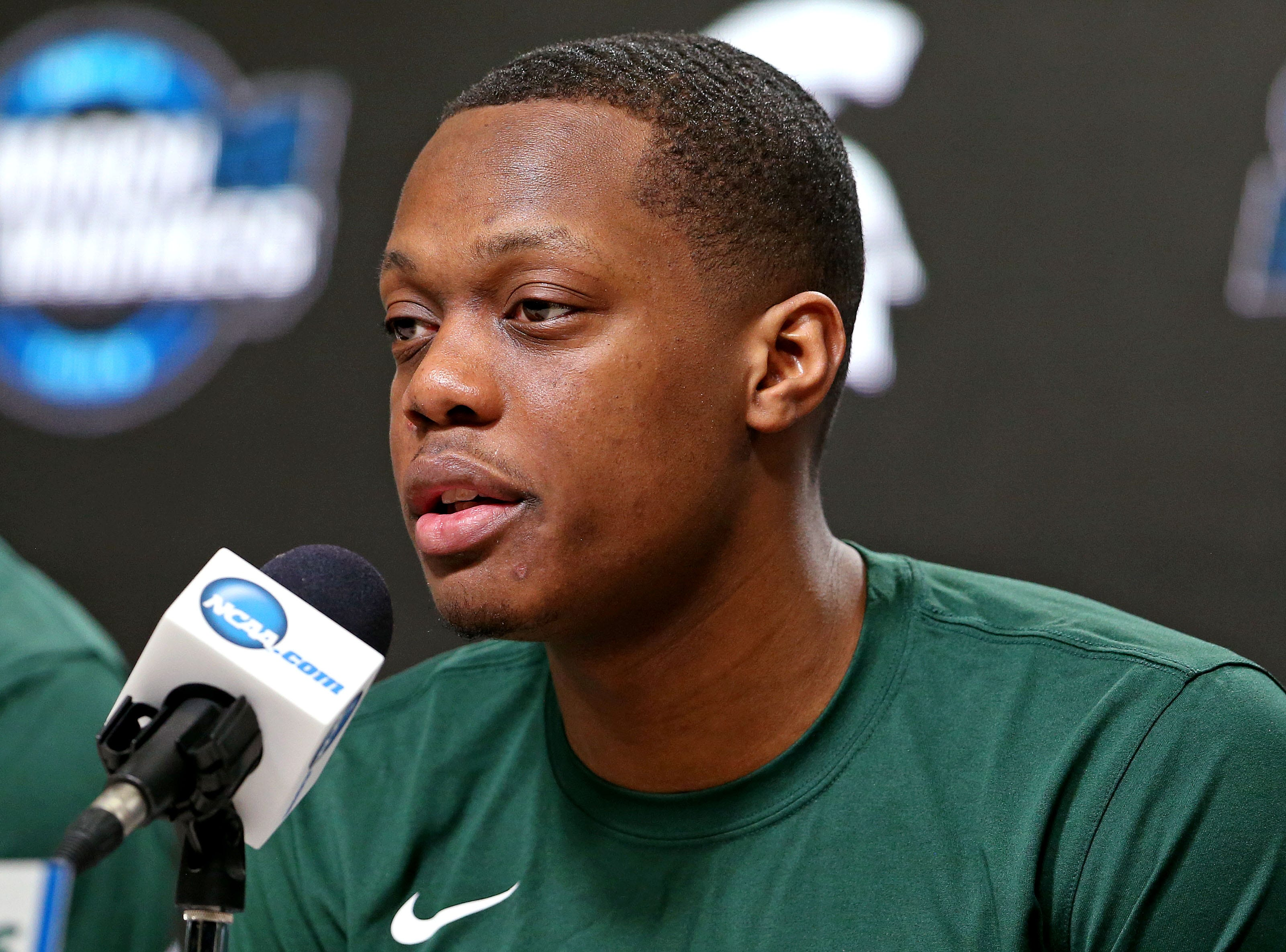 Mar 28, 2019; Washington, DC, USA; Michigan State Spartans guard Cassius Winston (5) speaks in a press conference during practice for the east regional of the 2019 NCAA Tournament at Capital One Arena. Mandatory Credit: Peter Casey-USA TODAY Sports