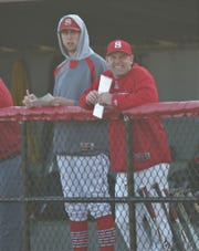 """Shelby head coach Jon Amicone, shown here in 2019 with Hunter Hoffman, left, said of the spring baseball season being hold: """"You just make the best out of a bad situation."""""""