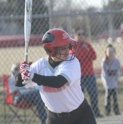 Shelby's Sydnie Seibert readies herself at the plate.