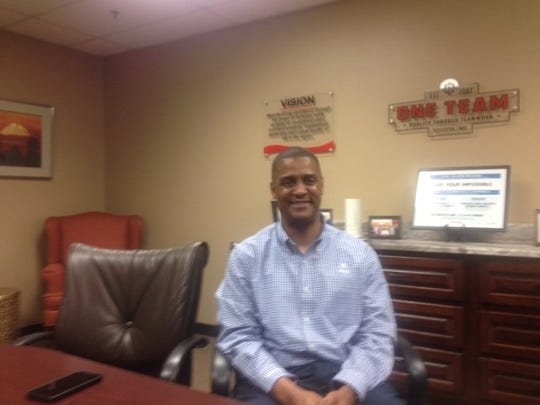 Sean Suggs, president of Toyota Mississippi, sits in his office inside the 1,900-employee assembly plant at Blue Springs, Miss.