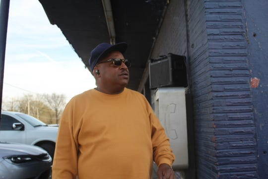 Tony Wilson, a resident of North Memphis, stands outside of B-52 market during a campaign event held by mayoral candidate Terrence Boyce.