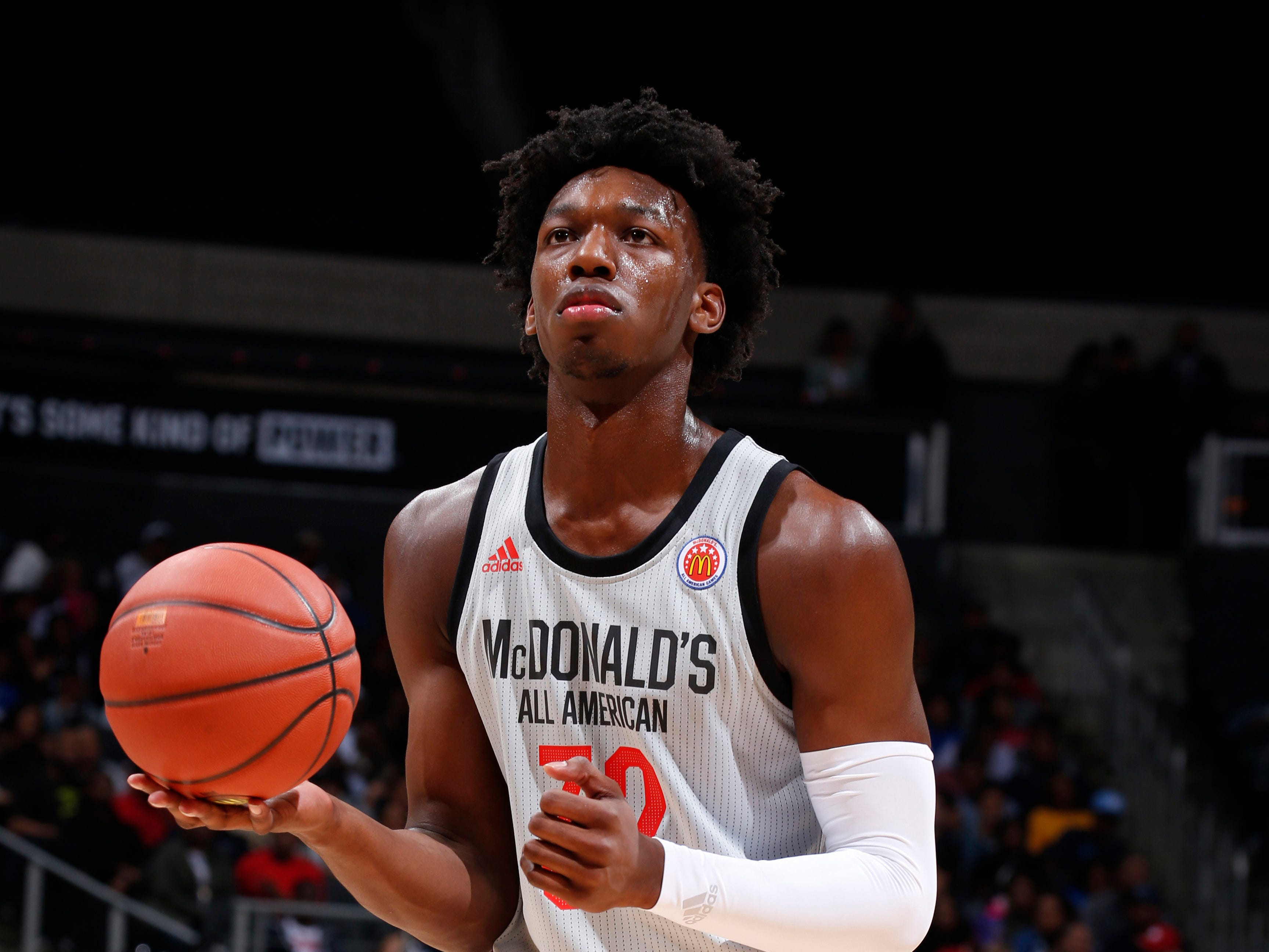 The West's James Wiseman (32) shoots a free throw during the McDonalds  All-American Game in Atlanta on March 27, 2019.