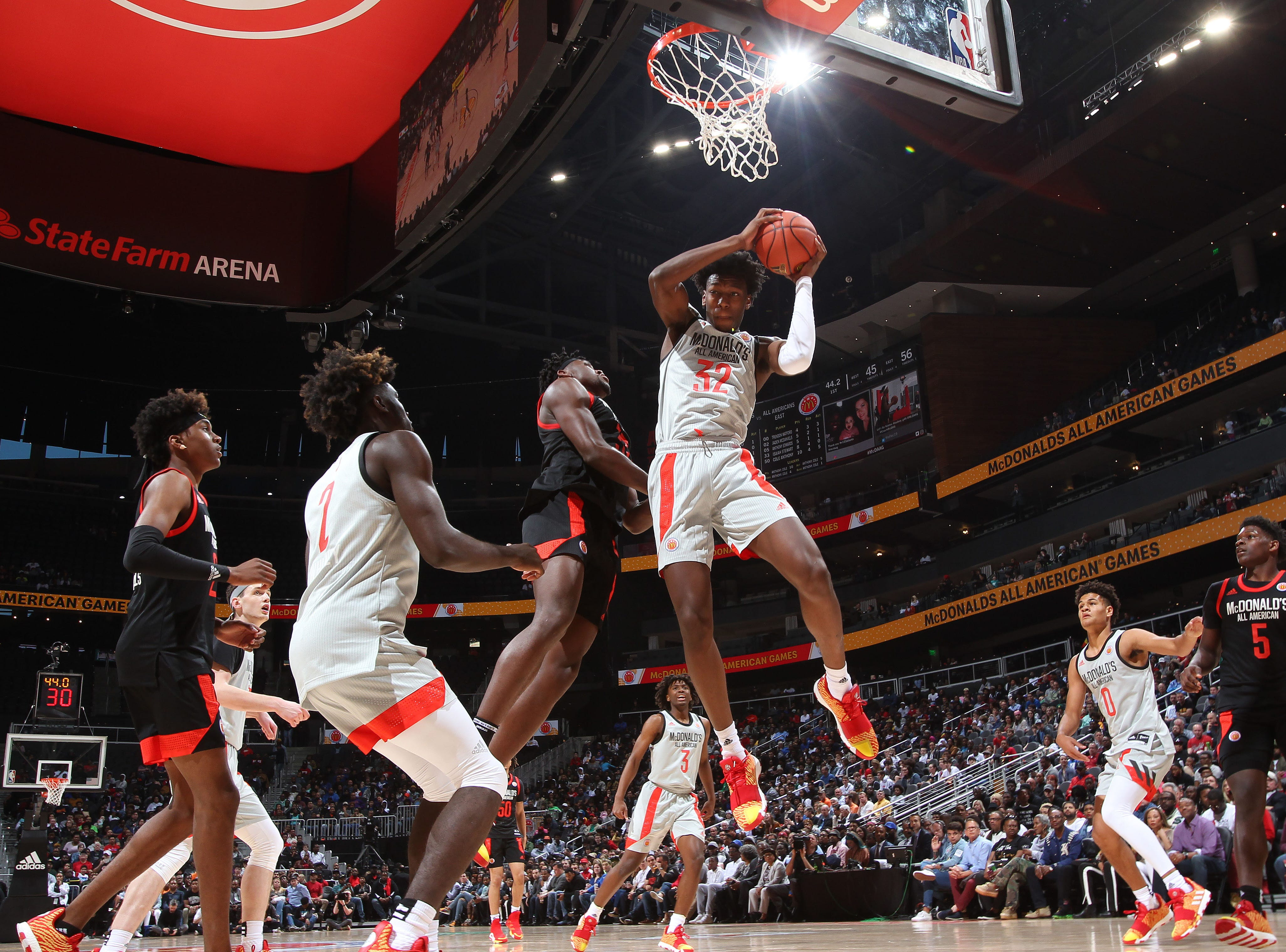 The West's James Wiseman (32) grabs a rebound during during the McDonald's  All-American Game in Atlanta on March 27, 2019.