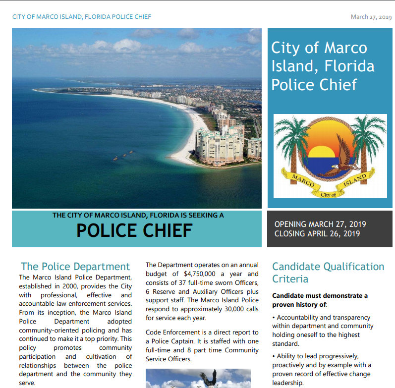 Marco Island police chief search down to 12, includes local candidates