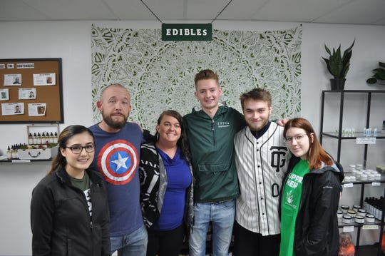Erth Dispensary is a family-run business that plans to open in Cedarburg on April 20. Pictured from left are Selina Reyes, Jason Ranic, owner Jennifer Kawczynski, Cole Compton, Patrick Donnell and Cheyenne Coad.