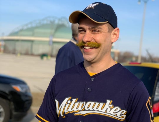 Jared Koser from Franklin dressed up as Bernie Brewer for opening day. He even dyed his mustache yellow to look more like the Brewer's mascot.