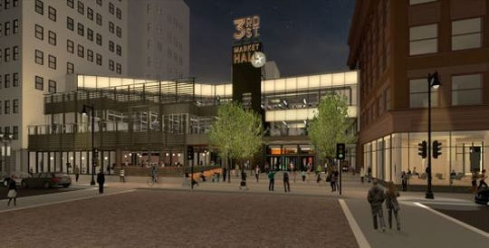 The new entrance to the former Grand Avenue mall, now known as The Avenue, will replace the glass vestibule with upper level patios and an expanded public plaza.