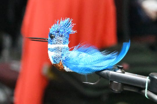 A kingfisher is seen in close detail Thursday at the Sowbug Roundup table of Joe Jackson of Indianapolis.