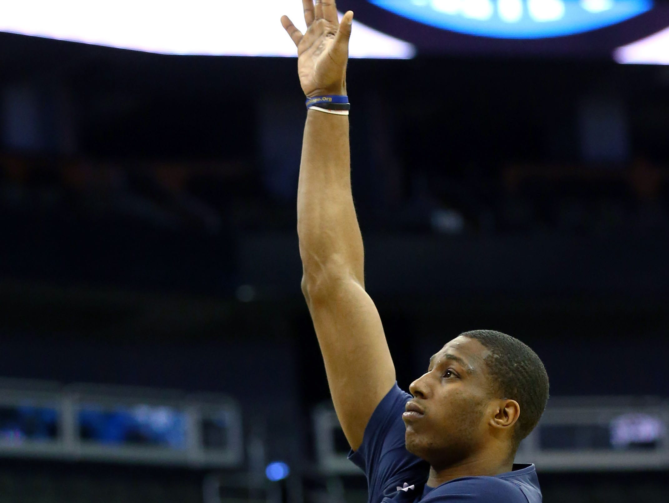 Mar 28, 2019; Kansas City, MO, United States;  Auburn Tigers forward Horace Spencer (0) during practice for the midwest regional of the 2019 NCAA Tournament at Sprint Center. Mandatory Credit: Jay Biggerstaff-USA TODAY Sports