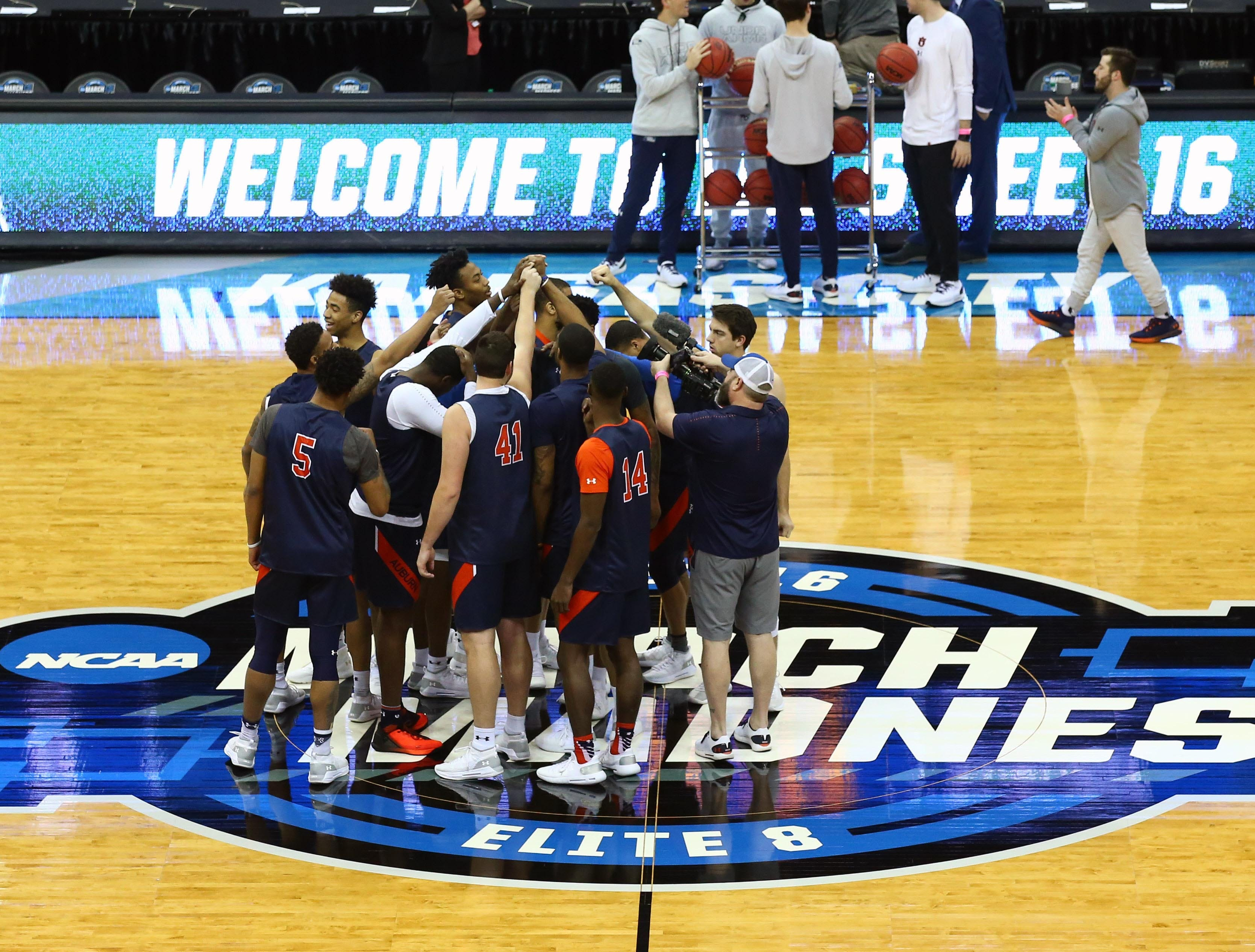 Mar 28, 2019; Kansas City, MO, United States;  The Auburn Tigers during practice for the midwest regional of the 2019 NCAA Tournament at Sprint Center. Mandatory Credit: Jay Biggerstaff-USA TODAY Sports