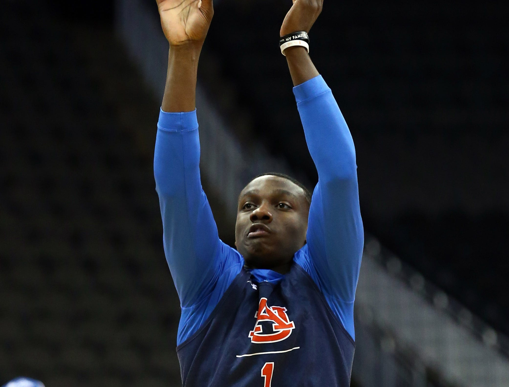 Mar 28, 2019; Kansas City, MO, United States;  Auburn Tigers guard Jared Harper (1) during practice for the midwest regional of the 2019 NCAA Tournament at Sprint Center. Mandatory Credit: Jay Biggerstaff-USA TODAY Sports