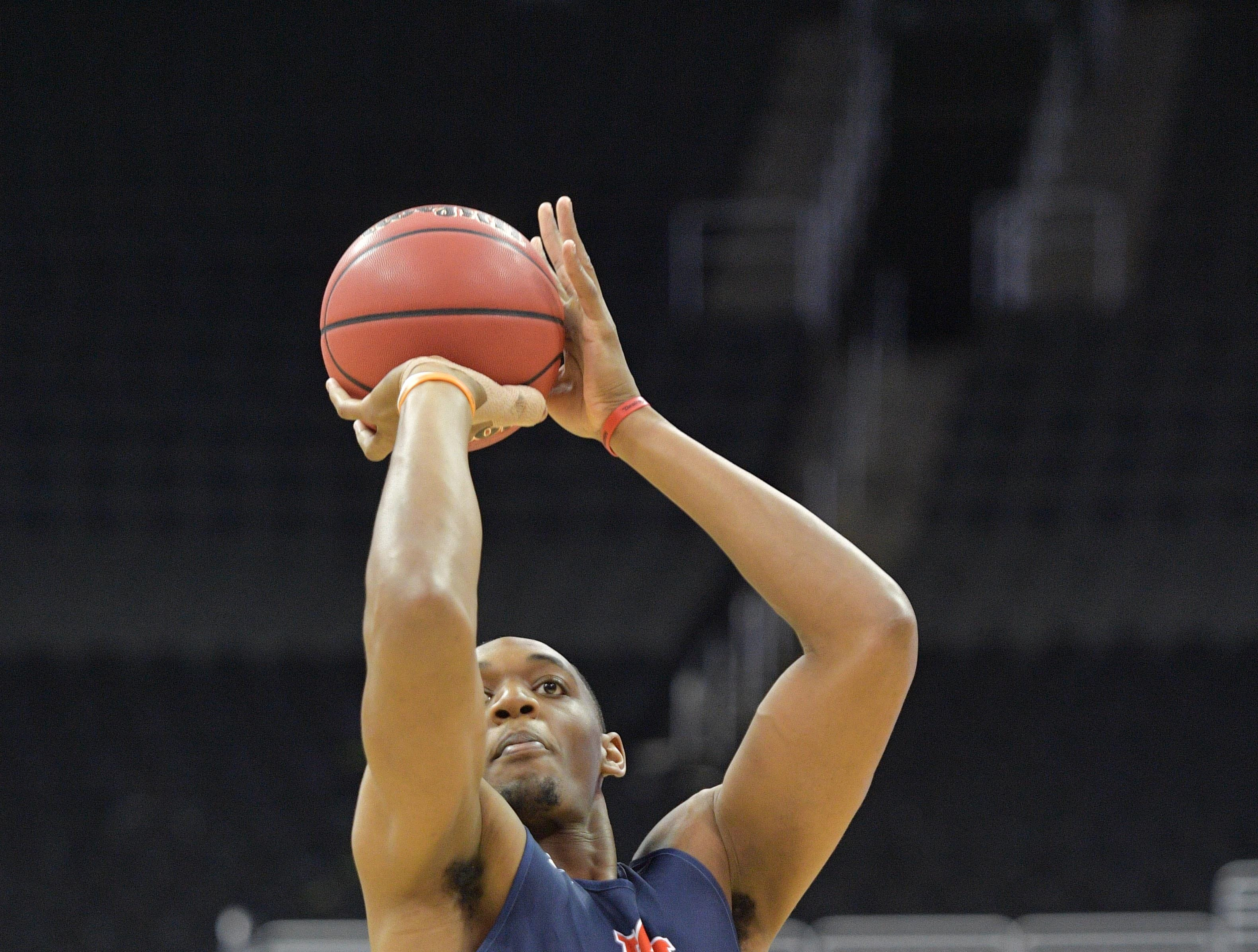 Mar 28, 2019; Kansas City, MO, United States; Auburn center Austin Wiley (50) shoots during practice for the midwest regional of the 2019 NCAA Tournament at Sprint Center. Mandatory Credit: Denny Medley-USA TODAY Sports