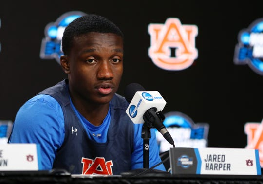 Auburn guard Jared Harper (1) speaks during a press conference at the NCAA Tournament at Sprint Center on March 28, 2019, in Kansas City.
