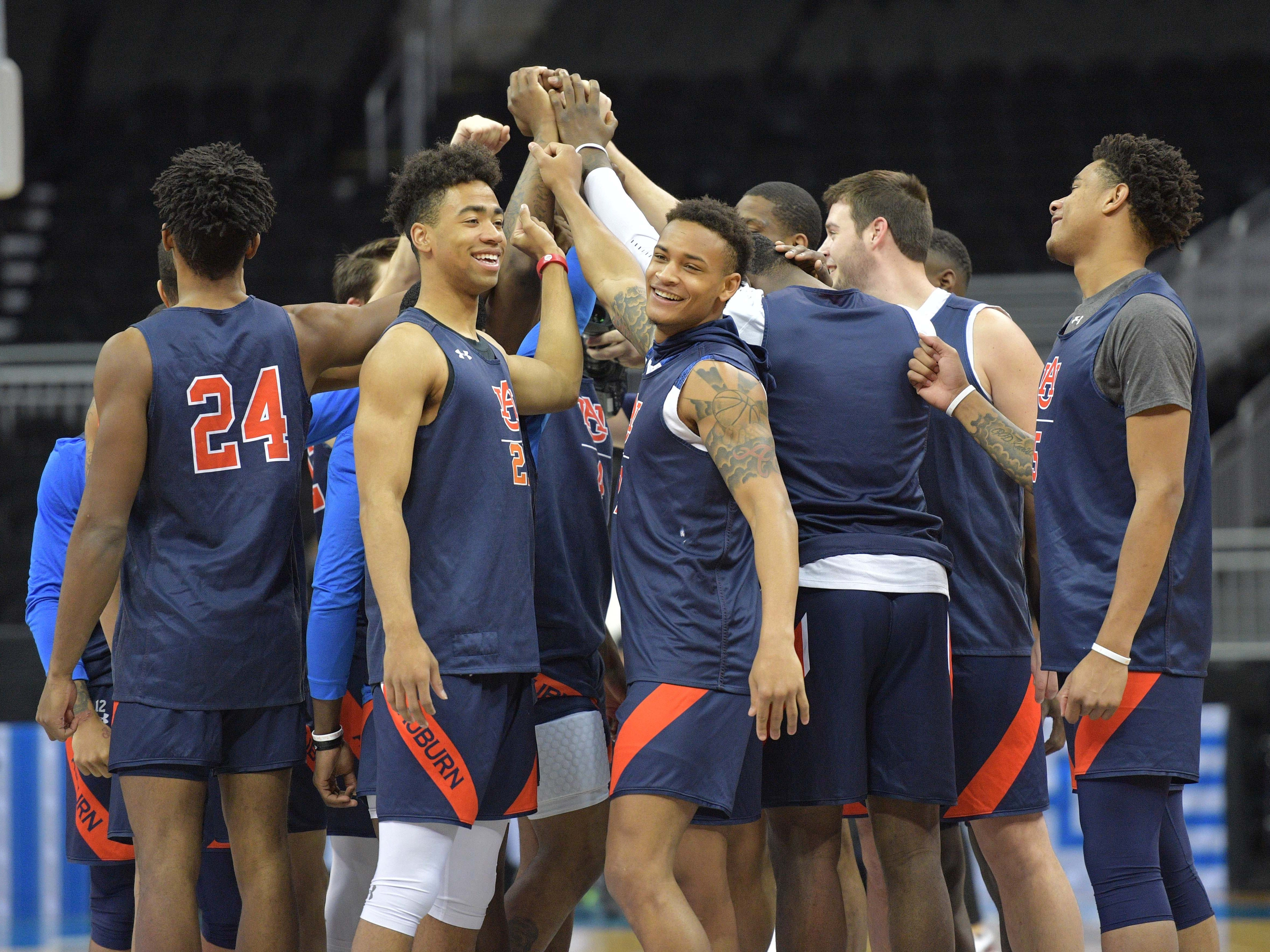 Mar 28, 2019; Kansas City, MO, United States; The Auburn team huddles up during practice for the midwest regional of the 2019 NCAA Tournament at Sprint Center. Mandatory Credit: Denny Medley-USA TODAY Sports
