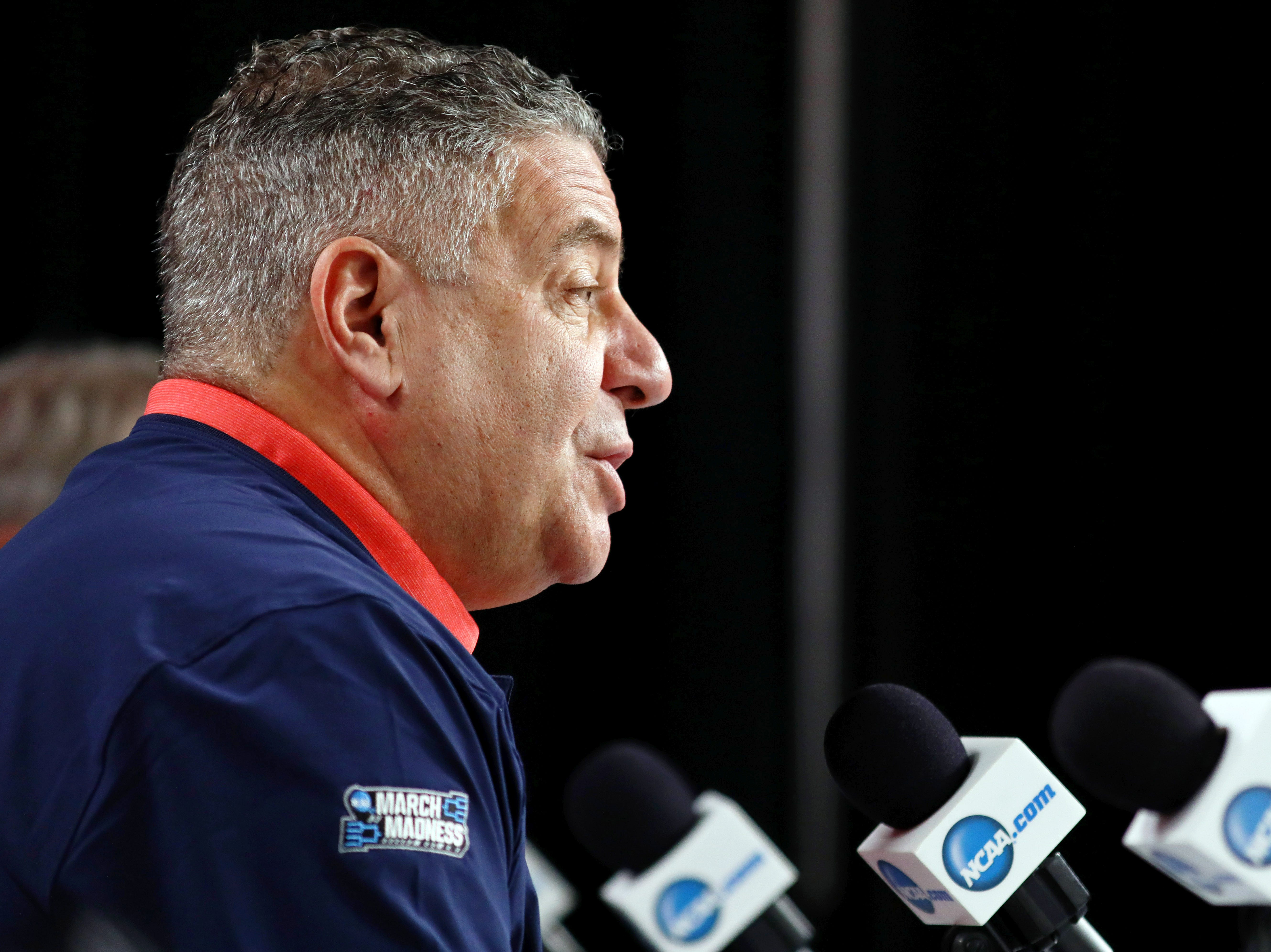 Mar 28, 2019; Kansas City, MO, United States;  Auburn Tigers head coach Bruce Pearl speaks during a press conference for the midwest regional of the 2019 NCAA Tournament at Sprint Center. Mandatory Credit: Jay Biggerstaff-USA TODAY Sports