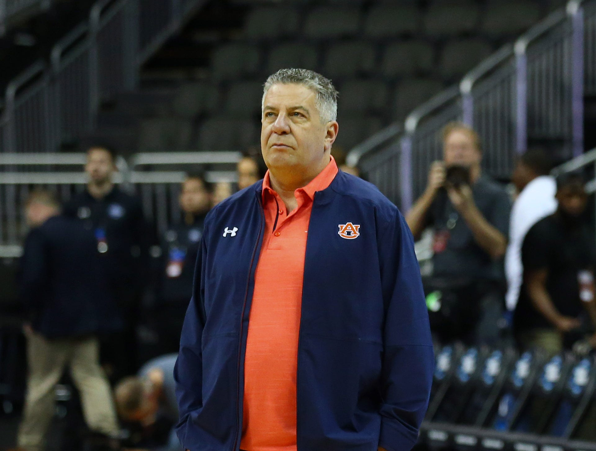 Mar 28, 2019; Kansas City, MO, United States;  Auburn Tigers head coach Bruce Pearl during practice for the midwest regional of the 2019 NCAA Tournament at Sprint Center. Mandatory Credit: Jay Biggerstaff-USA TODAY Sports