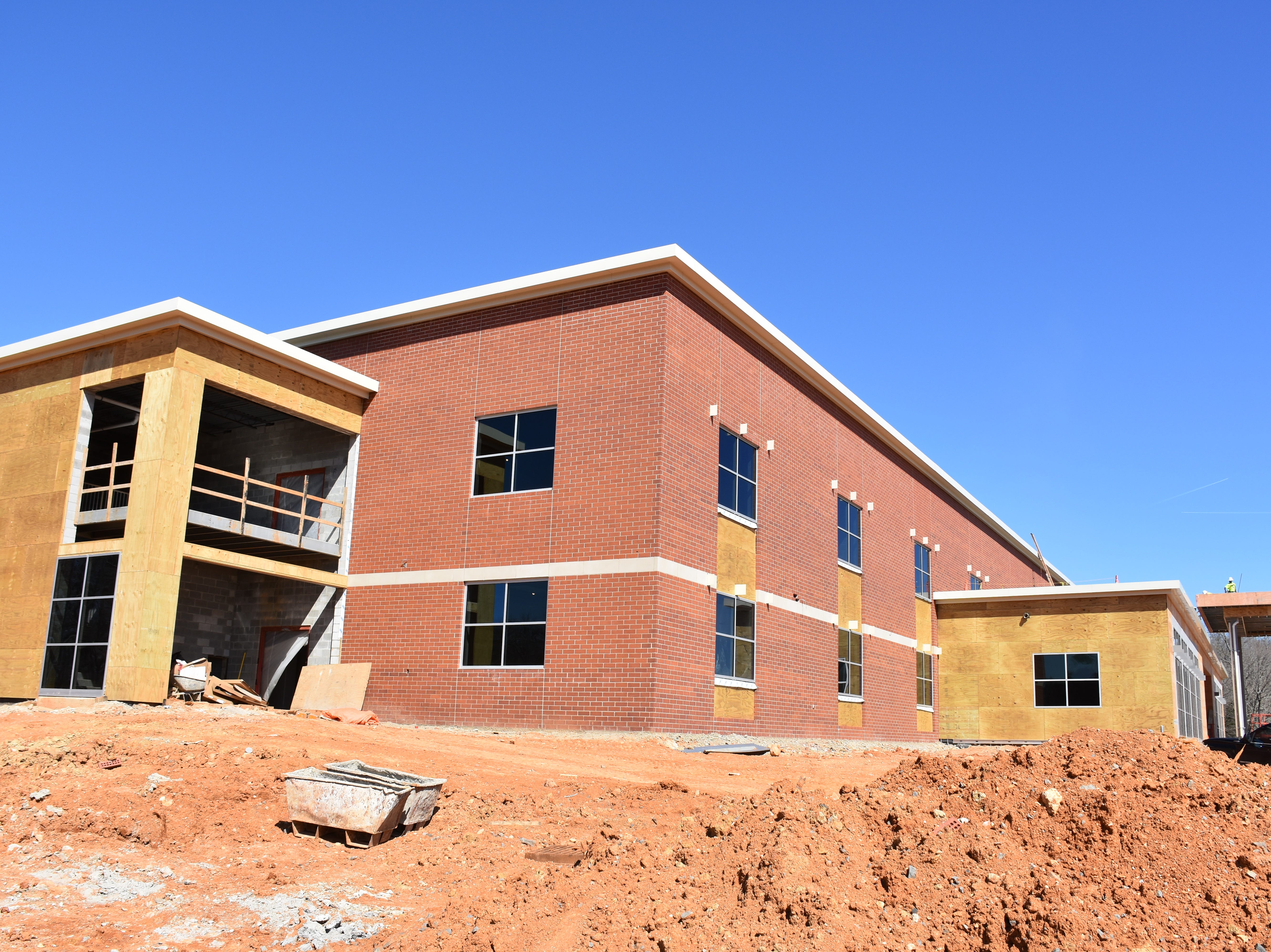 The new Burns Middle School is under construction, on a rolling hill just off Highway 96 in Burns. The school is scheduled to be open by August for the next school year. Photos taken March 27, 2019.