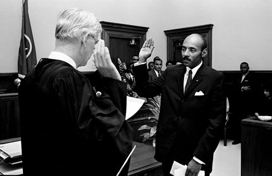 A.A. Birch Jr., right, is sworn in as a General Sessions judge by Criminal Court Judge Allen R. Cornelius Jr. at the Metro Courthouse on April 11, 1969. Birch, a former assistant district attorney, replaces General Sessions Judge Joe C. Loser.