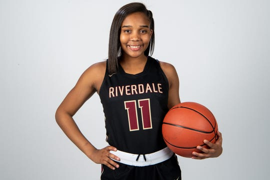 Aislynn Hayes of the Riverdale High School basketball team Wednesday, March 20, 2019.