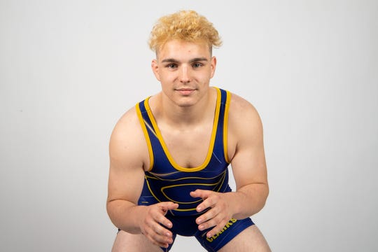 Bradley Williams of the Clarksville High School wrestling team Wednesday, March 20, 2019.