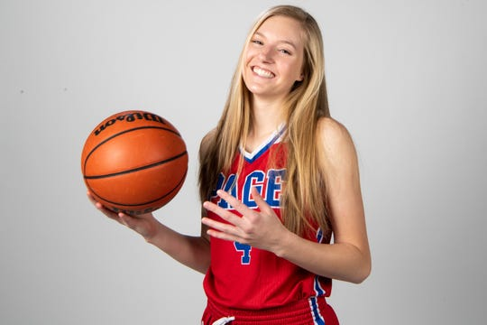 Faith Wilken of the Page High School basketball team Wednesday, March 20, 2019.
