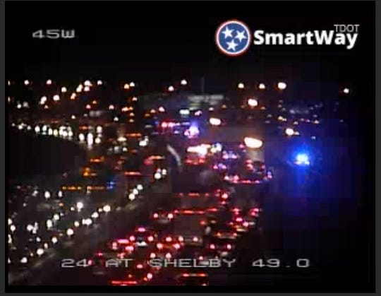 Interstate 24 westbound was closed at the James Robertson Parkway interchange Wednesday, March 27, 2019. Police say a Nashville pedestrian was struck.