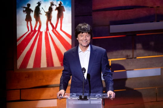 Ken Burns speaks during the Country Music: A Concert Celebrating the film by Ken Burns concert at the Ryman Auditorium in Nashville, Tenn., Wednesday, March 27, 2019.