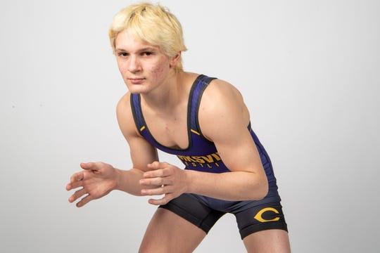 Christian Isbell of the Clarksville High School wrestling team Wednesday, March 20, 2019.