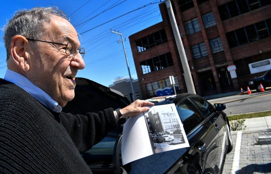 Jack May visits May Hosiery Mill, his family's former factory on Chestnut Street, on March 19, 2019. The facility is being renovated to house Apple Music, a hotel and other businesses.
