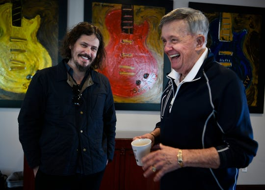 "John Paul White, left, laughs with country legend Bill Anderson on March 26, 2019. The two wrote two songs together for White's new album, ""The Hurting Kind."""