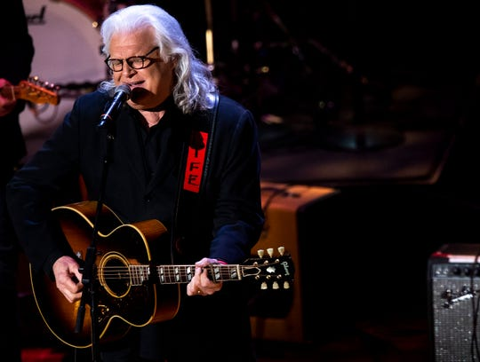 Ricky Skaggs performs during the Country Music: A Concert Celebrating the film by Ken Burns concert at the Ryman Auditorium in Nashville, Tenn., Wednesday, March 27, 2019.