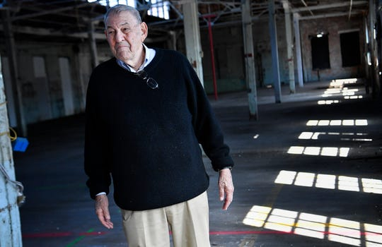Joseph Jack May visits his family's old factory May Hosiery Mill on Chestnut St. Tuesday, March 19, 2019 in Nashville, Tenn. The facility is being renovated to house Apple Music and a hotel along with other businesses.