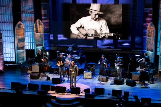 "Ketch Secor performs ""In the Jailhouse Now"" by Jimmie Rodgers during a concert celebrating Ken Burns' ""Country Music"" documentary March 27, 2019, at the Ryman Auditorium in Nashville."