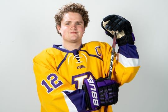 Sam Hagan of the Lipscomb Academy hockey team Wednesday, March 20, 2019.