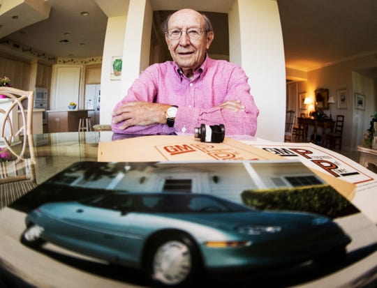 Frank Jamerson,91, a part time Bonita Springs resident has led a storied career which has seen him working on nuclear weapons testing at the Naval Research Lab and nuclear reactor physics at Westinghouse and working at GM for 35 years where he assisted in the EV1 production electric car. The car is in the foreground. Photographed in his home on March, 28, 2019.