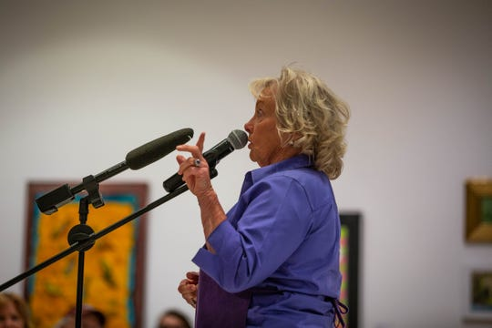 Pamela Gilbert tells her story of getting in the lavender business at the Storytellers Project Night at Naples Art Association in Naples on March 27, 2019.