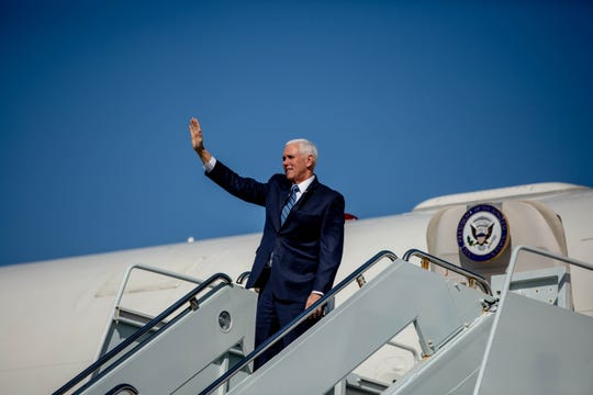 Vice President Mike Pence arrives at Naples Airport via Air Force Two on March 28, 2019.