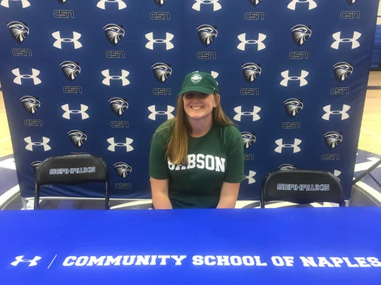 CSN's Laura Zuloaga poses for a picture after signing with Babson College on Tuesday.