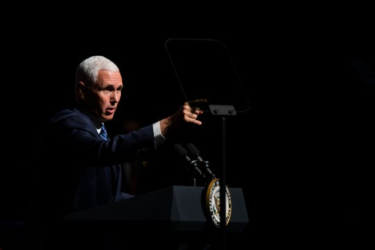 Vice President Mike Pence speaks to a crowd at the O'Bryan Performance Hall in the Thomas and Selby Prince Building at Ave Maria University on Thursday, March 28, 2019.