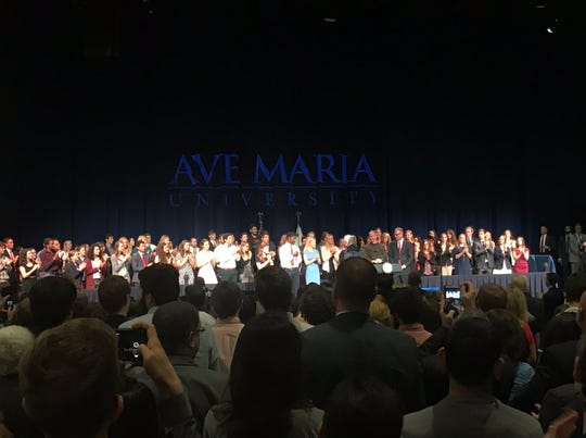 Vice President Mike Pence concludes and begins to shake hands with students and other attendees at Ave Maria University Thursday, March 28, 2019.
