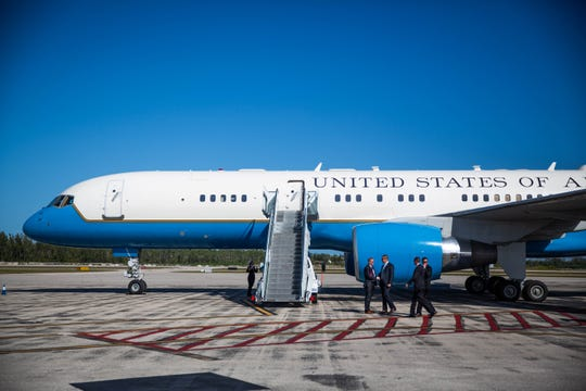 Air Force 2 lands at Naples Municipal Airport on March 28, 2019.
