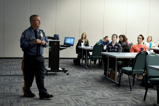 """Lt. Scott Bartell of the Florham Park police department  delivers a presentation on """"Run, Hide and Fight"""" protocol used to deal with a violent intruder, developed by the Department of Homeland Security. Bartell presented to staff of Jewish Family Service of Metrowest NJ at the Jewish Federation of Greater Metrowest NJ in Whippany on March 28, 2019."""