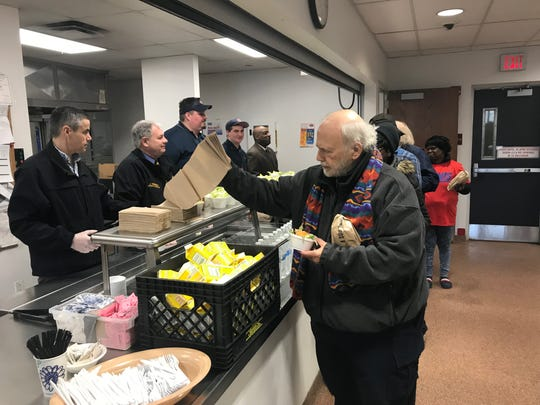 Residents of the Bergen County Health and Human Services shelter are treated to a lunch of 134 Jersey Mike's subs. 3/28/19.